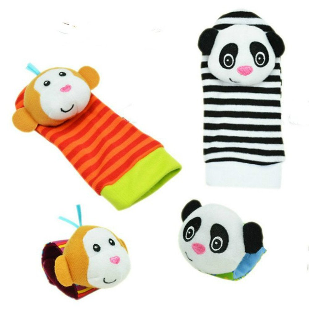 Kamat/® 4 X Baby Infant Soft Toy Wrist Rattles Hands Foots Finders Developmental