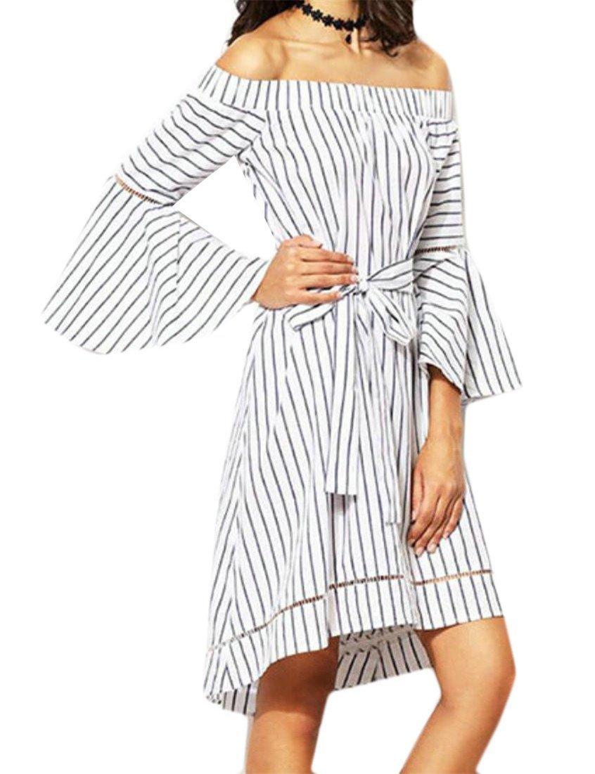 Summer Women Summer Strapless Bell Sleeve Striped Asymmetric Party Midi Dress Clubwear