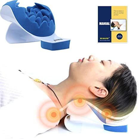 rearand neck and shoulder relaxer neck pain relief and neck support shoulder relaxer massage traction pillow chiropractic pillow for pain relief