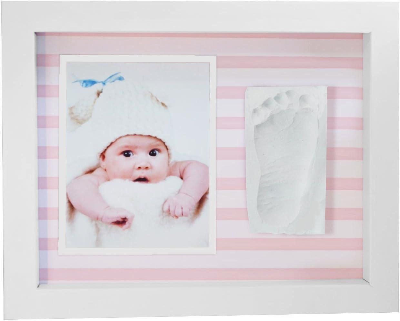 Marco de Fotos para Bebé,Marco de Huellas para Niños - Regalos para Bebé Recién Nacido Rayas Rosas: Amazon.es: Bebé