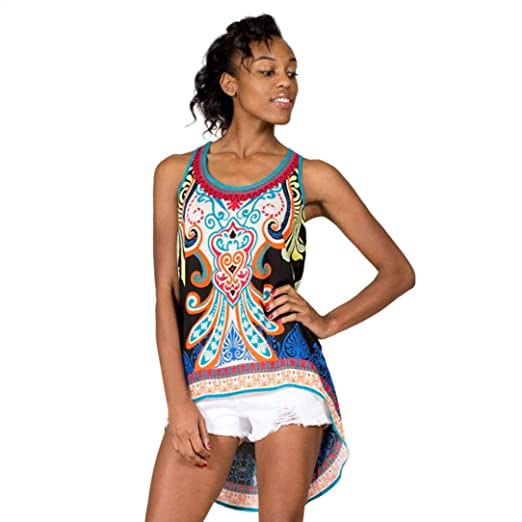 65ee260bb2016 Womens Tribal Print Sleeveless Loose Tunic Tank Tops Casual Blouses Vest T  Shirt Irregular (Black