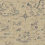 York Wallcoverings DS7645 Walt Disney Kids II Pirate Map Wallpaper, Blue/Tan