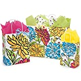 Vibrant Floral Paper Shopping Bags - Assortment of 3 sizes - 375 Pack