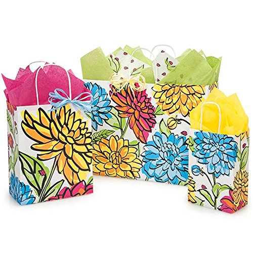 Vibrant Floral Paper Shopping Bags - Assortment of 3 sizes - 375 Pack by NW