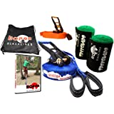 Beginner Slackline Kit for Kids - Maximum Safety & Easy Setup - SKYLINE Includes 50ft Blue Slackline, Top Helper Line, Safety-Lock Ratchets, Tree Protectors, Instructional Manual & Video Link