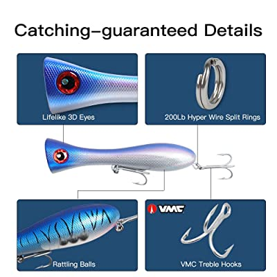 1pc Hard Bait Artificial Life-like Topwater Popper Fishing Lure w// 2 Treble Hook