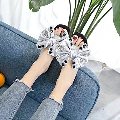 Color B Women's Shoes Flops for 37 Open HUAN Slippers Black Bowknot Silver Fabric Summer amp; Size Toe Outdoor Comfort Walking Shoes Pink Flip HpqAF