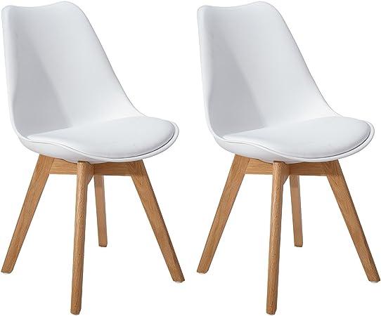 DORAFAIR Pack de 2 Retro sillas de Comedor Silla escandinava,Tulip ...