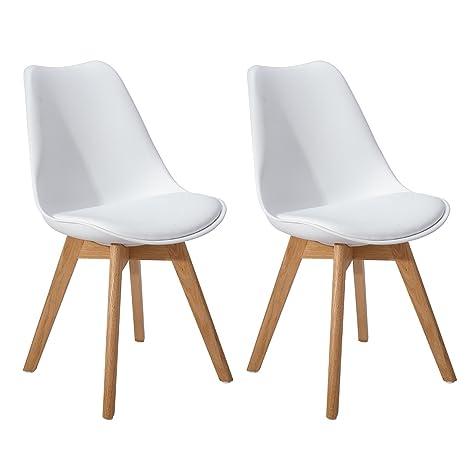 DORAFAIR Pack de 2 Retro sillas de Comedor Silla escandinava,Tulip Comedor/Silla de Oficina con Las piernas de Madera de Roble Maciza,Blanco