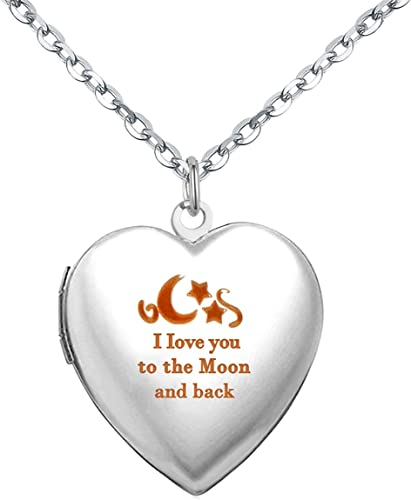 Power Wing I Love You to The Moon and Back Locket Necklace That Holds Pictures Pendant Necklaces Photo Lockets