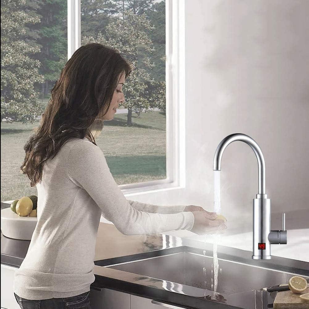 Knoijijuo Instant-Hei/ßwasserbereiter-Mischer Mit LED-Anzeige Ohne Kessel Elektrische Armatur Durchlauferhitzer F/ür K/üchen
