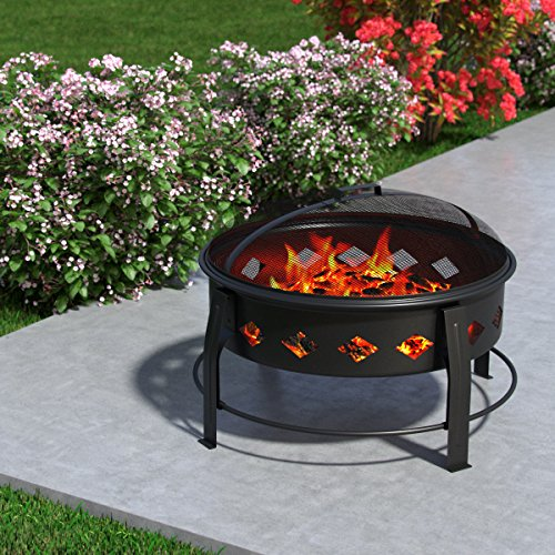 """Regal Flame Cosmic Flame 27"""" Portable Outdoor Fireplace Fire Pit For Backyard Patio Fire Bowl, Includes Safety Mesh Cover, Poker Stick, Great for Camping, Outdoor Heating, Bonfire, Picnic by Regal Flame (Image #5)"""