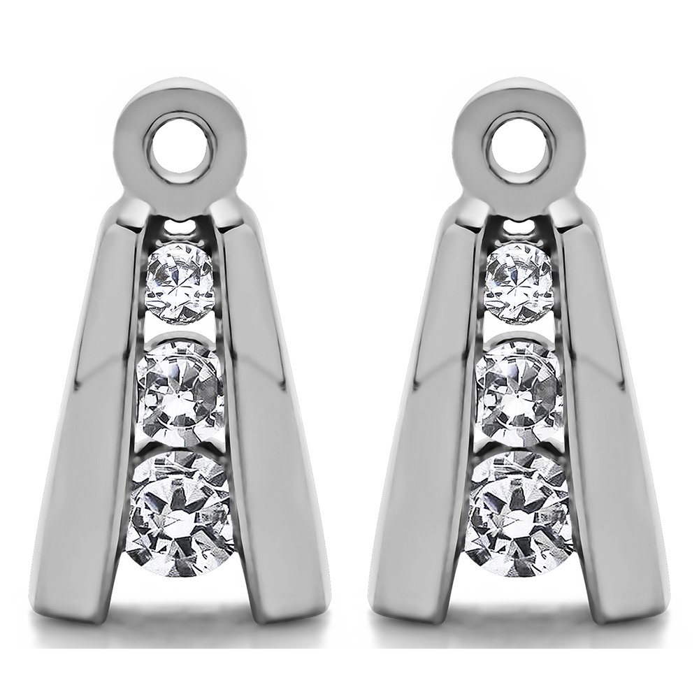 1/5 ct. White Sapphire Three Stone Earring Jackets in Sterling Silver (0.2 ct. twt.)