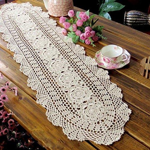Laivigo Handmade Crochet Lace Oval Lucky Flower Tablecloth Table Runner Doilies Doily,12 x 35 Inch,Beige Doily Runner