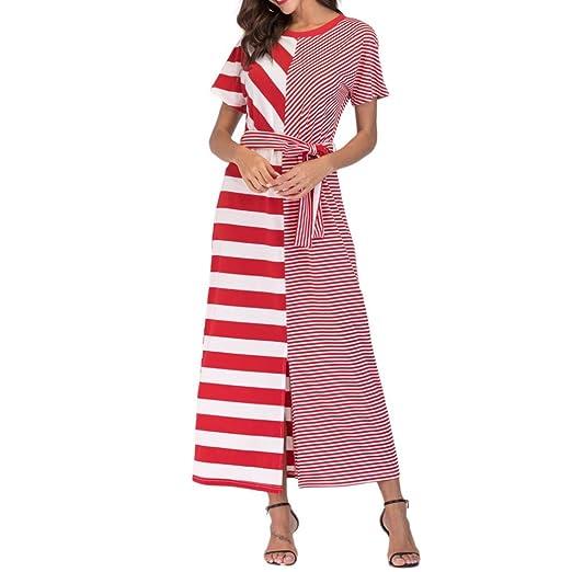 6b4e10bdc39 DEATU Elegance Women Casual Striking Striped Red with Belt Loose Bohe Short  Sleeve Long Dress Kaftan