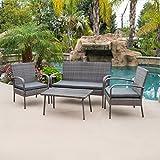 Belleze 4 Piece Outdoor Patio Wicker Set All Weather Rectangular Table Waterproof Outdoors Patio Backyard Brown/Grey
