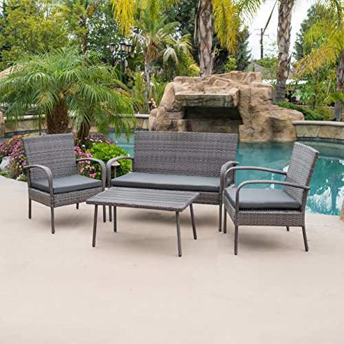 Belleze 4pc Patio Wicker Set Outdoor Rattan Conversation Cushion Seat Love Seat Garden Backyard w/Coffee Table, Gray ()