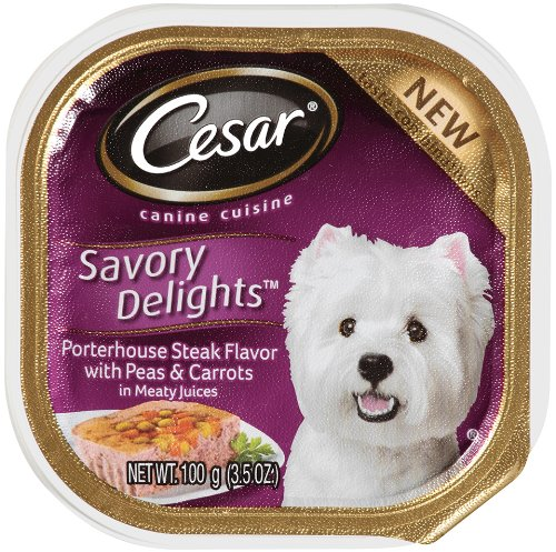 Cesar Savory Delights Canine Cuisine Porterhouse Steak Flavor with Peas and Carrots in Meaty Juices, 3.5-Ounce (Pack of 24 ), My Pet Supplies