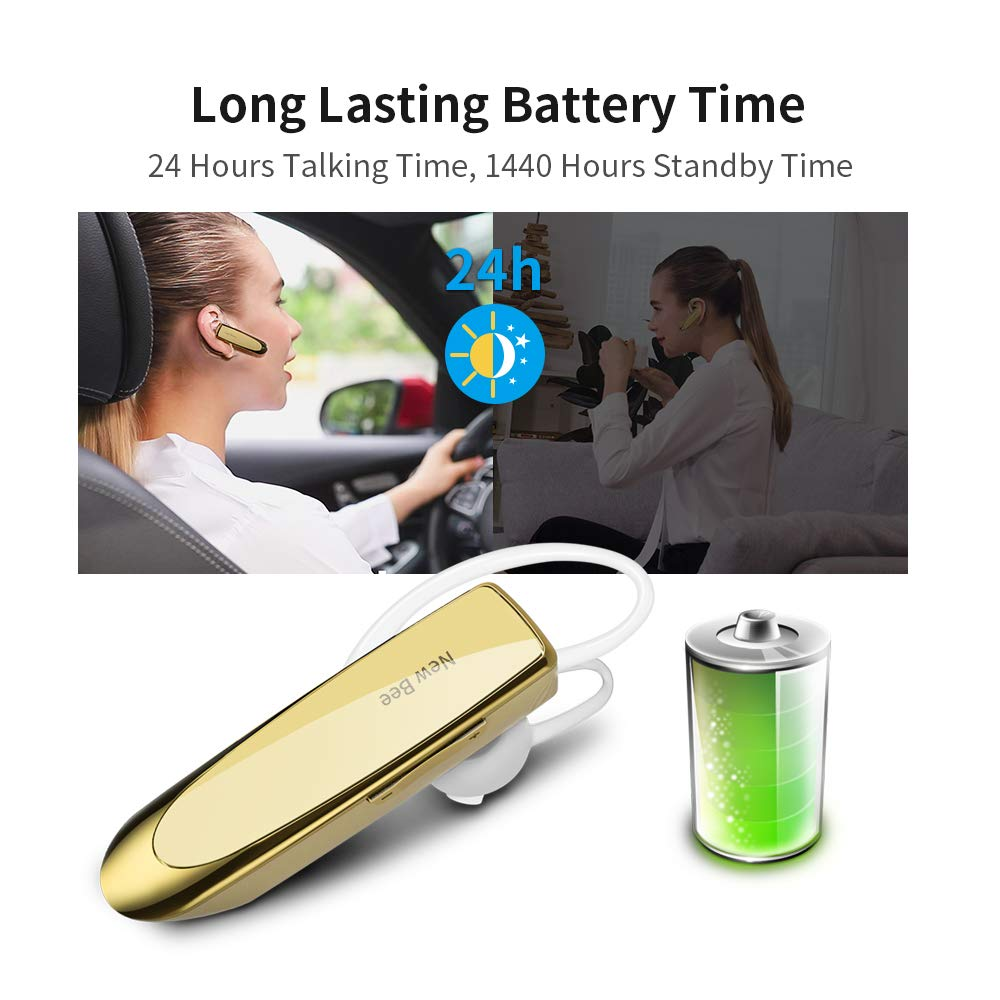 Silver New bee Bluetooth Earpiece Wireless Handsfree Headset 24 Hrs Driving Headset 60 Days Standby Time With Noise Cancelling Mic Headsetcase for iPhone Android Samsung Laptop Truck Driver 2 Pack