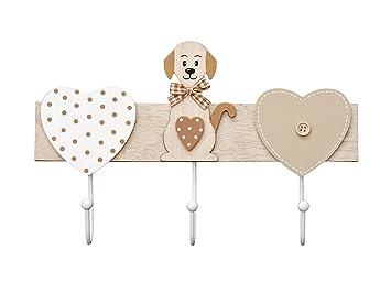 Perchero de Pared Colgador de Pared 3 Ganchos para Pared o Puerta, Madera Original diseño de Perro y corazón marrón y Blanco, Perros y Animales ...