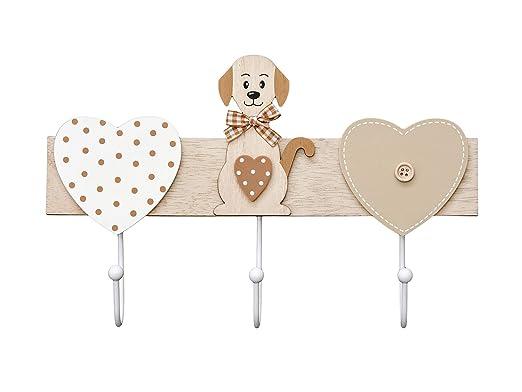 Perchero de Pared Colgador de Pared 3 Ganchos para Pared, Madera Original diseño de Perro y corazón marrón y Blanco, Perros Animales decoración Dog ...
