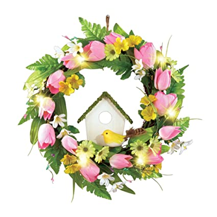 Spring Front Door Wreath Decoration With Tulips, Birdhouse U0026 Lights