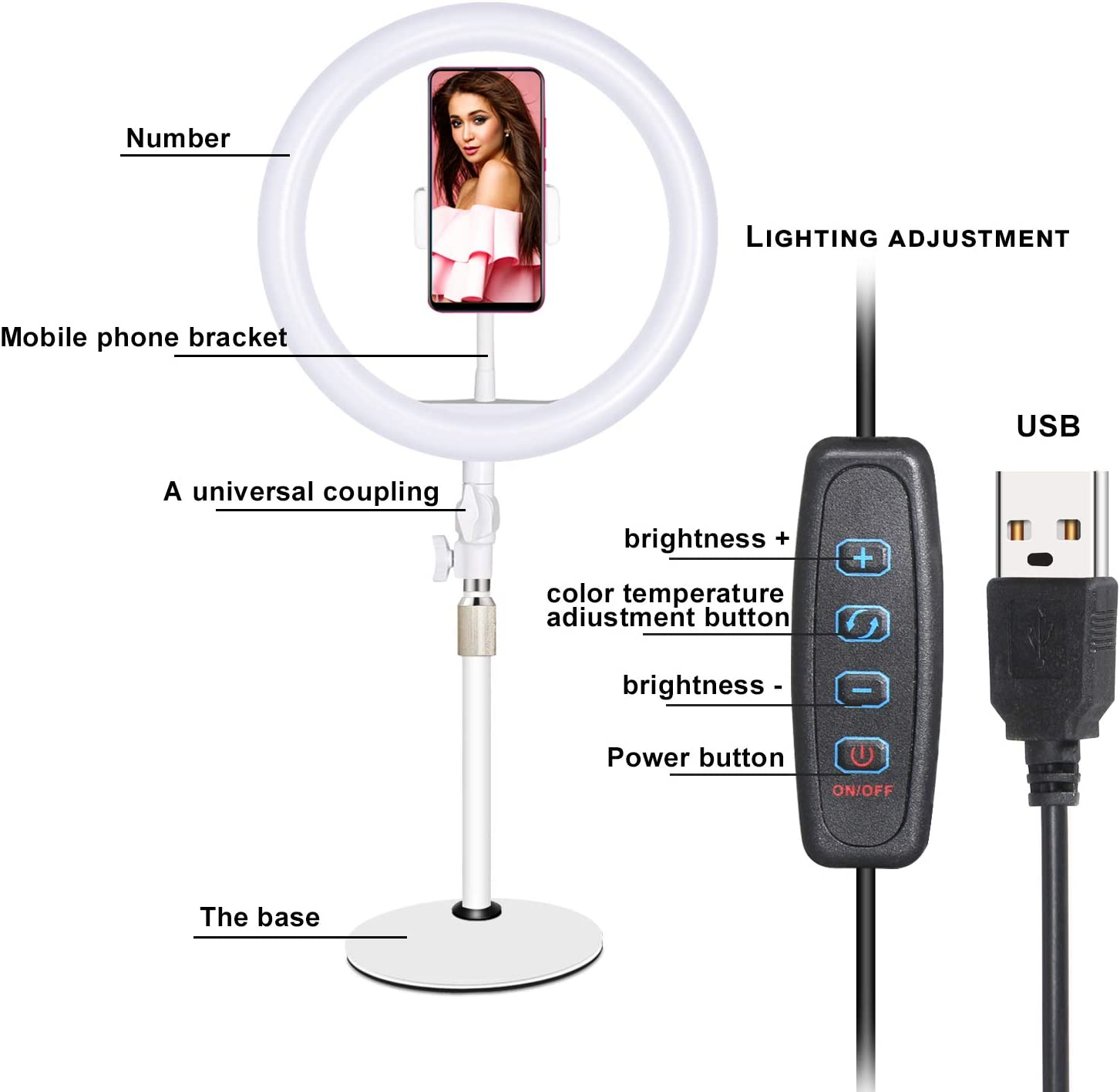 """ldab 10/"""" Selfie Ring Light 2 Light Modes /& 10 Levels Brightness3200K-5600k with &Phone Holder&Soft Tube Stand for Live Streaming,YouTube,Portrait,Dimmable Makeup Selfie Ring Light,Remote Control"""