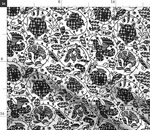 Spoonflower Embroidery Fabric - Embroidered Elizabethan Blackwork Tudor Renaissance Smock Print on Fabric by The Yard - Minky for Sewing Baby Blankets Quilt Backing Plush Toys