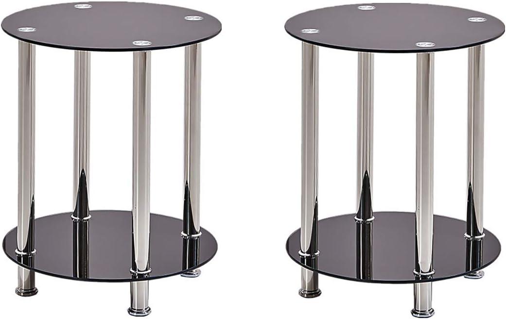 100% Origineel GWFVA kleine glazen bijzettafelset van 2 zwarte bijzettafel voor woonkamer slaapkamer ontvangstruimte (2 kleine bijzettafels) 2 of Small Side Table v7U7Ros