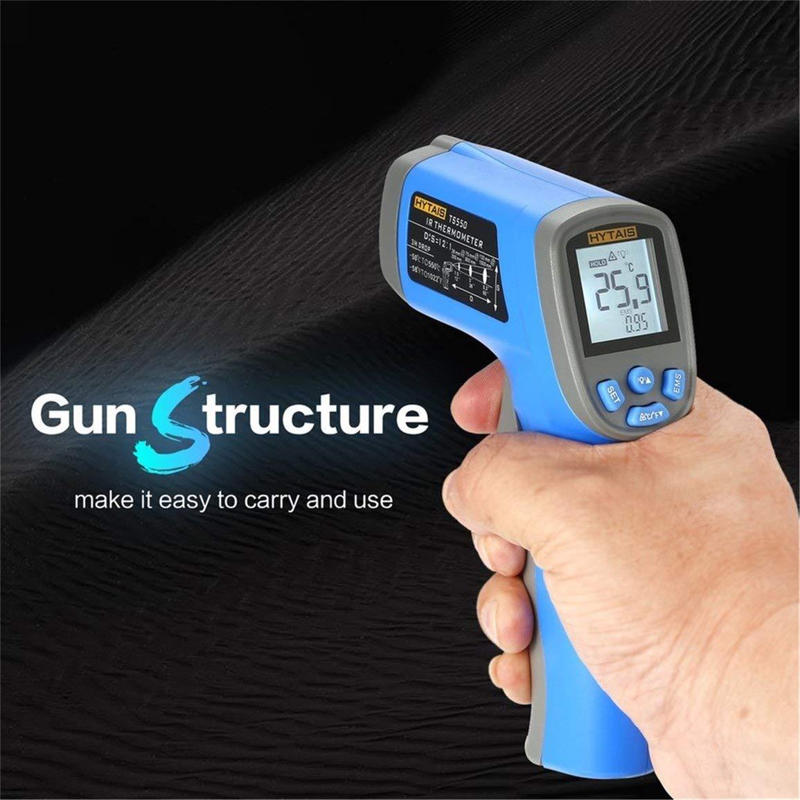 con sensore laser IR senza contatto retroilluminazione LCD HYTAIS TS550 Termometro digitale a infrarossi per temperatura industriale