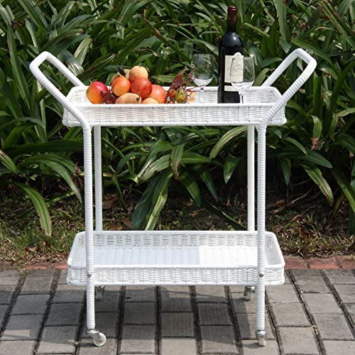 Indoor Outdoor Rolling Bar Serving Cart with 2 Tier Removable Shelves Made with Wicker Rattan and Metal in White 32 H x 18 W x 32 D