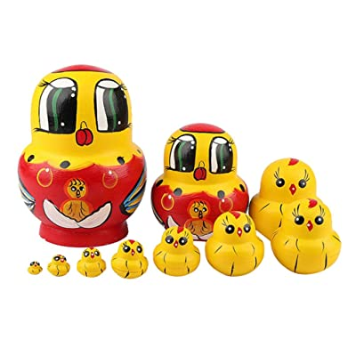 Toyvian 10 Piezas de muñecas Rusas de Madera, Forma de Pollo, Juguetes de Madera para niños niños (Amarillo): Juguetes y juegos
