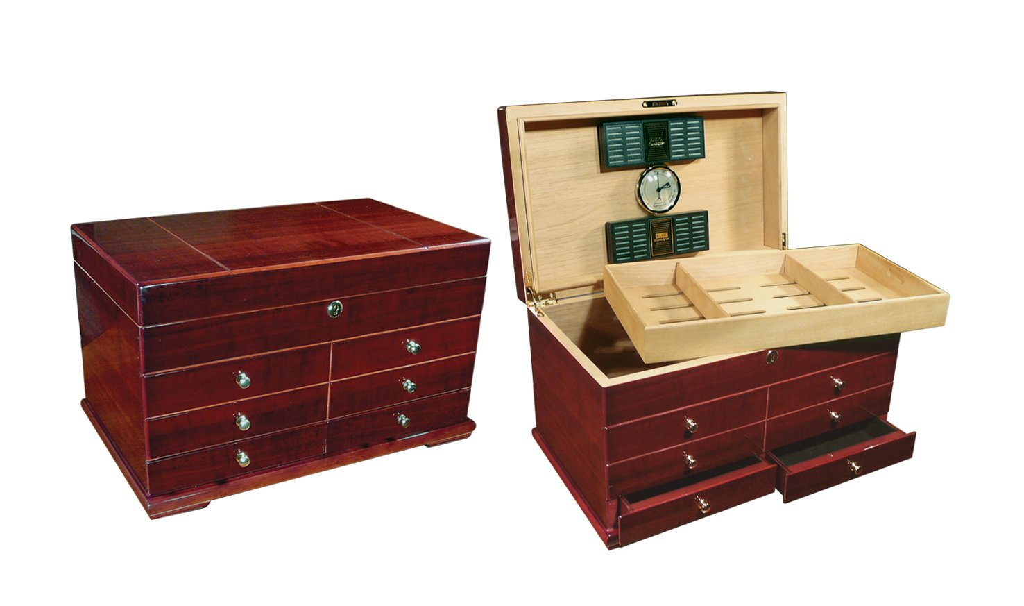 Prestige Import Group 300 Ct. High Gloss Lacquer Cherry Humidor w/ Drawers