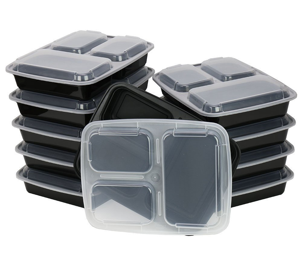 A World Of Deals 3 Compartment Microwave Safe, Plastic Storage Food Container with Lid, Divided Plate, Bento Box, Lunch Tray with Cover (10 Pack) A World of Deals® AWOD6382