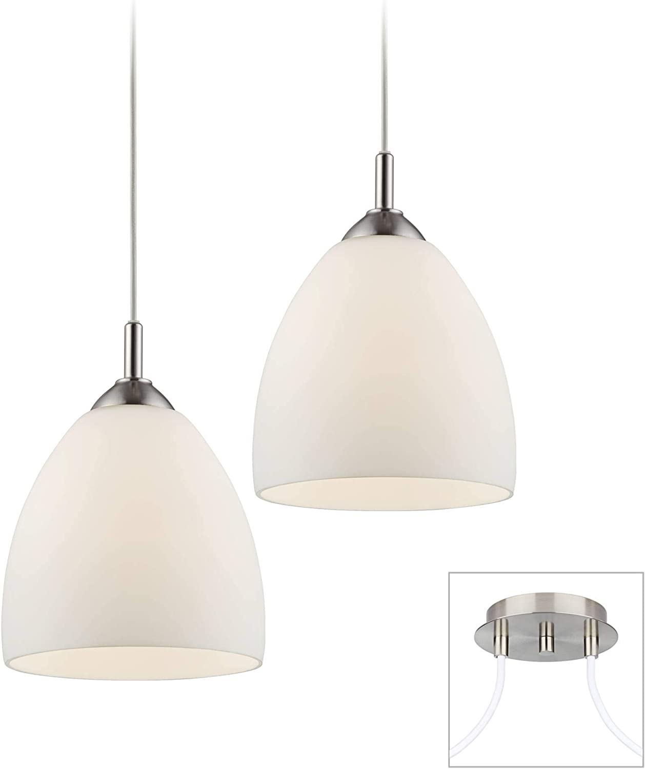 Opal Glass Brushed Nickel Double Multi Light Pendant – Possini Euro Design