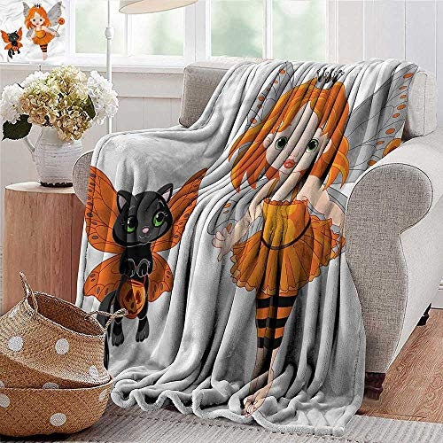Lightweight Blanket Halloween,Baby Fairy and Her Cat Microfiber All Season Blanket for Bed or Couch -