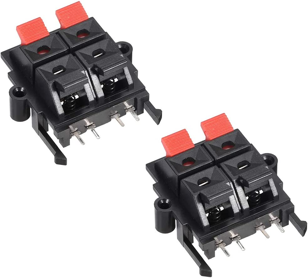 sourcing map 9 Row 9 Way Spring Speaker Terminal Clip Push Release  Connector Audio Cable Terminals Strip Block WP9-9 9Pcs