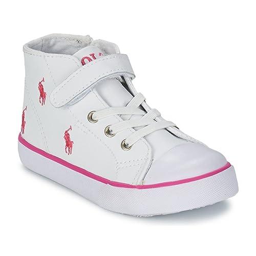 Polo Ralph Lauren - Zapatillas de Piel para niña Blanco Blanco: Amazon.es: Zapatos y complementos