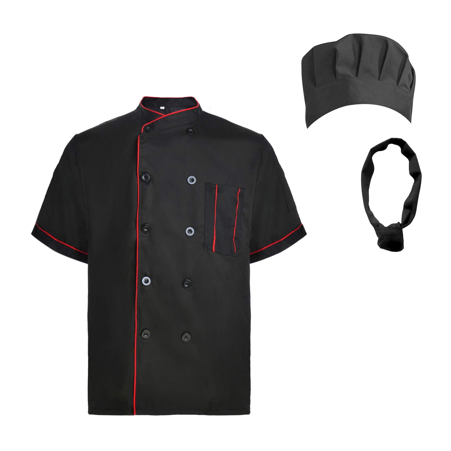TopTie Unisex Short Sleeve Cooking Chef Coat Jacket & Hat & Bandana Set-Black with red-M
