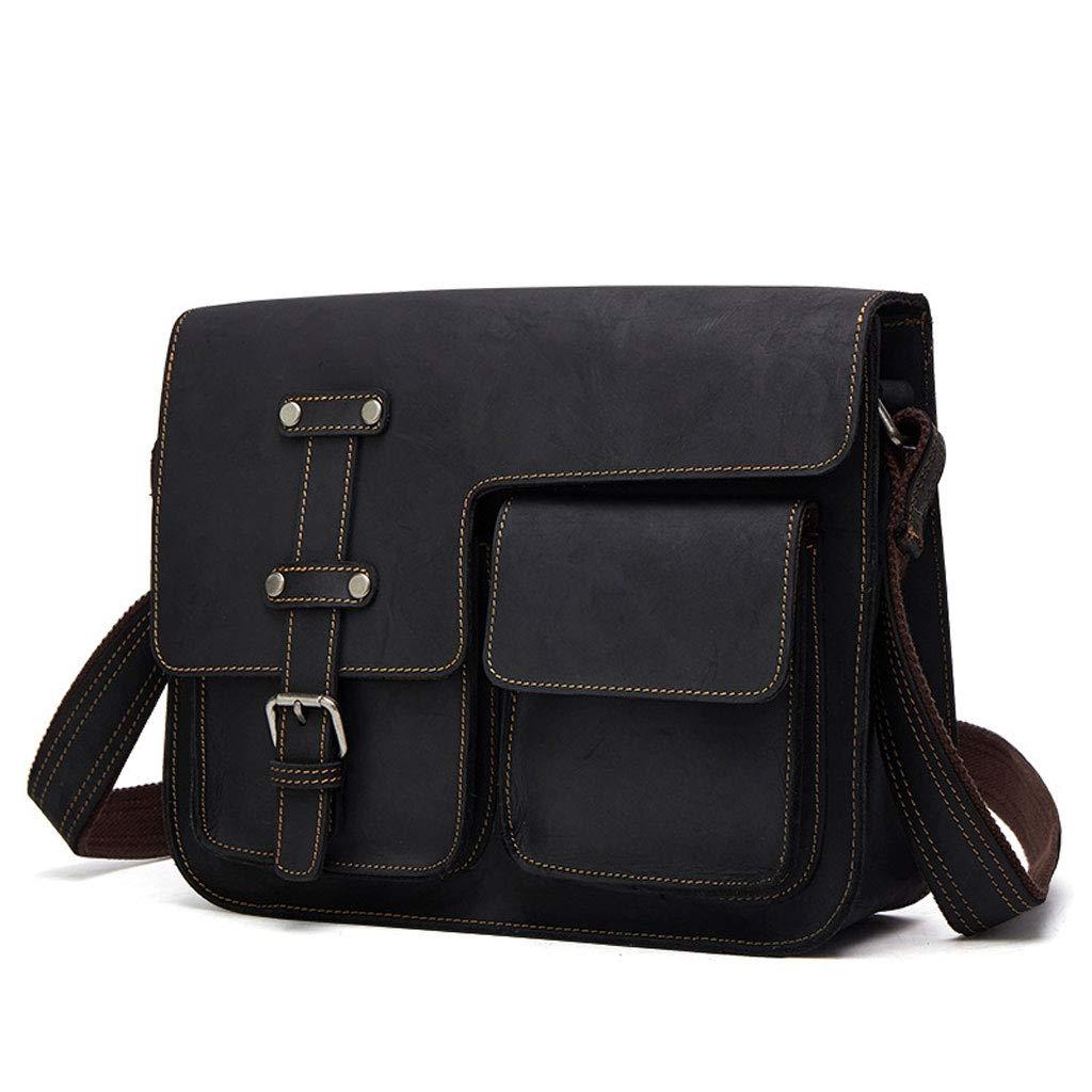 メンズビジネスブリーフケース、レザーショルダー斜めトートバッグ (Color : Black, Size : S) B07HQNDRST