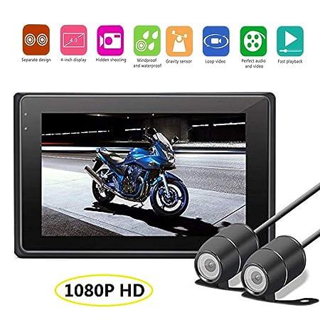 KOBWA Full HD 1080p Moto Grabadora de vídeo con 170 Gran Angular, Pantalla LCD de 3 Pulgadas, WDR, detección de Movimiento, Park Monitor, Loop de grabación, ...