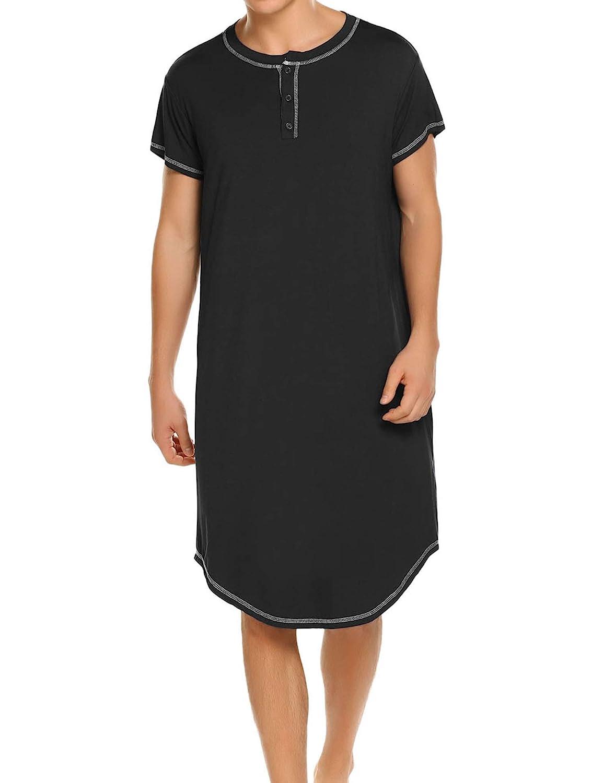 622a98eb Ekouaer Sleepwear Men's Nightshirt Short Sleeve Pajamas Comfy Big & Tall  Henley Sleep Shirt S-XXL at Amazon Men's Clothing store: