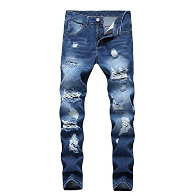 dbad886548 ENIDMIL Men's Ripped Holes Jeans Comfort Skinny Distressed Destroyed Slim  Fit Denim Pants Fashion Casual Stretch