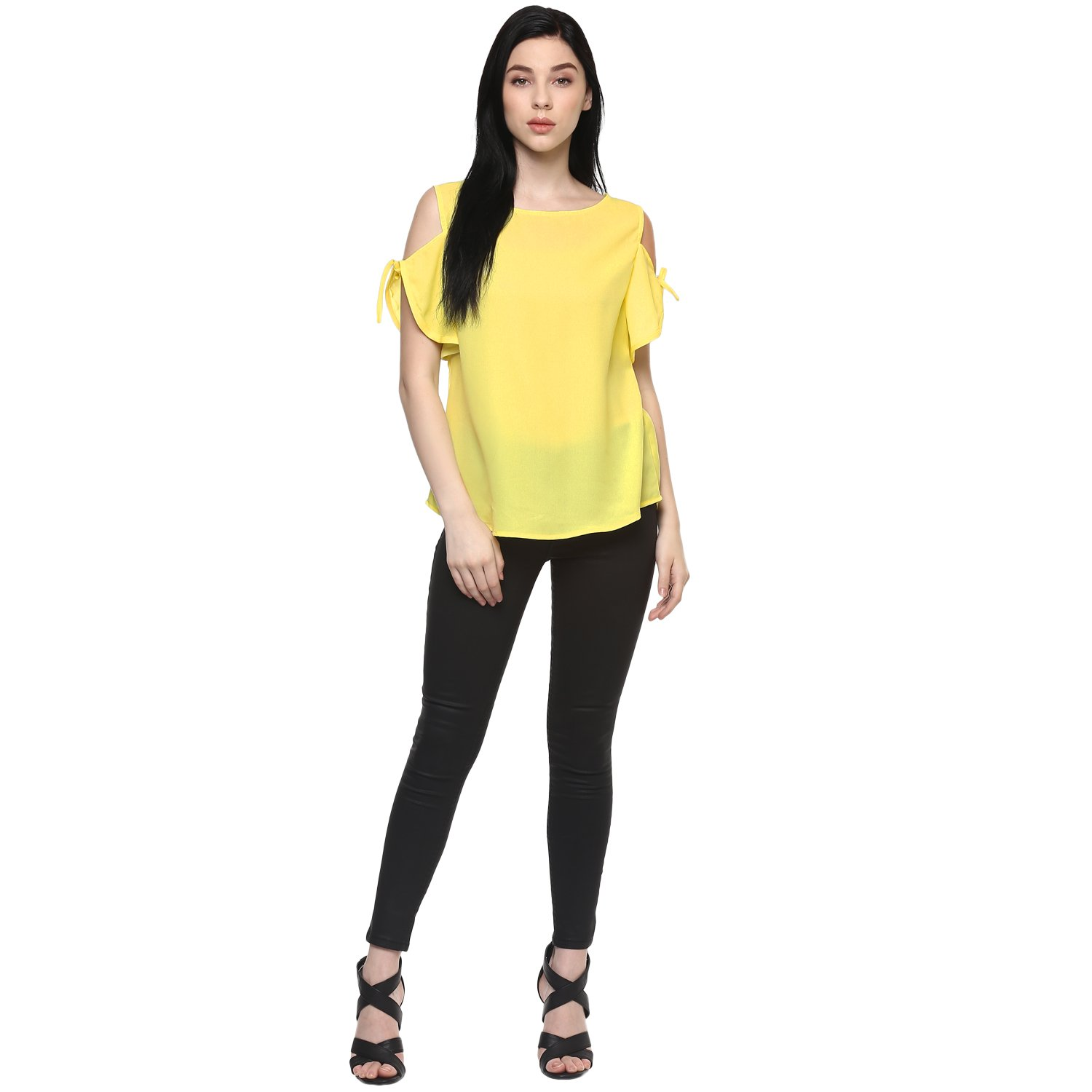 a98a813b027aa Pannkh Solid Tie-Up Cold Shoulder Women s Top  Amazon.in  Clothing    Accessories