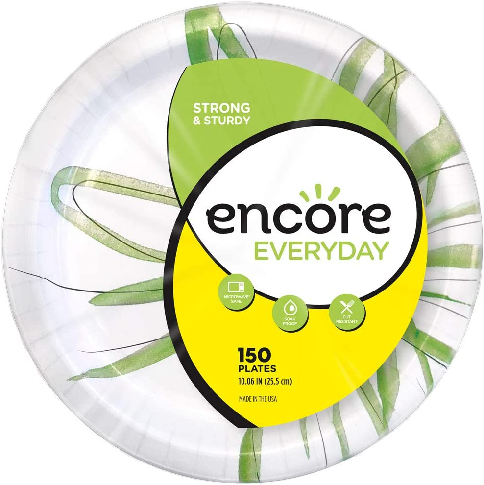 Encore Everyday Paper Plates 10.06 Inch, 150 Count (Pack of 4)