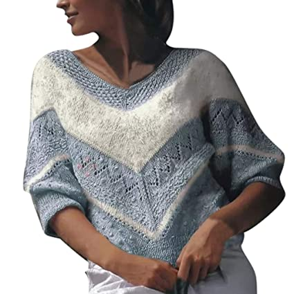 Whitegeese Women Long Sleeve Solid One-Shoulder Knitted Sweater Blouse Tops