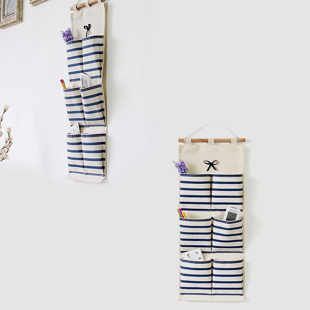 Leisial 6 Pockets Hanging Closet Organizer Over the Door Hanging Bag Storage Bag Navy Stripe