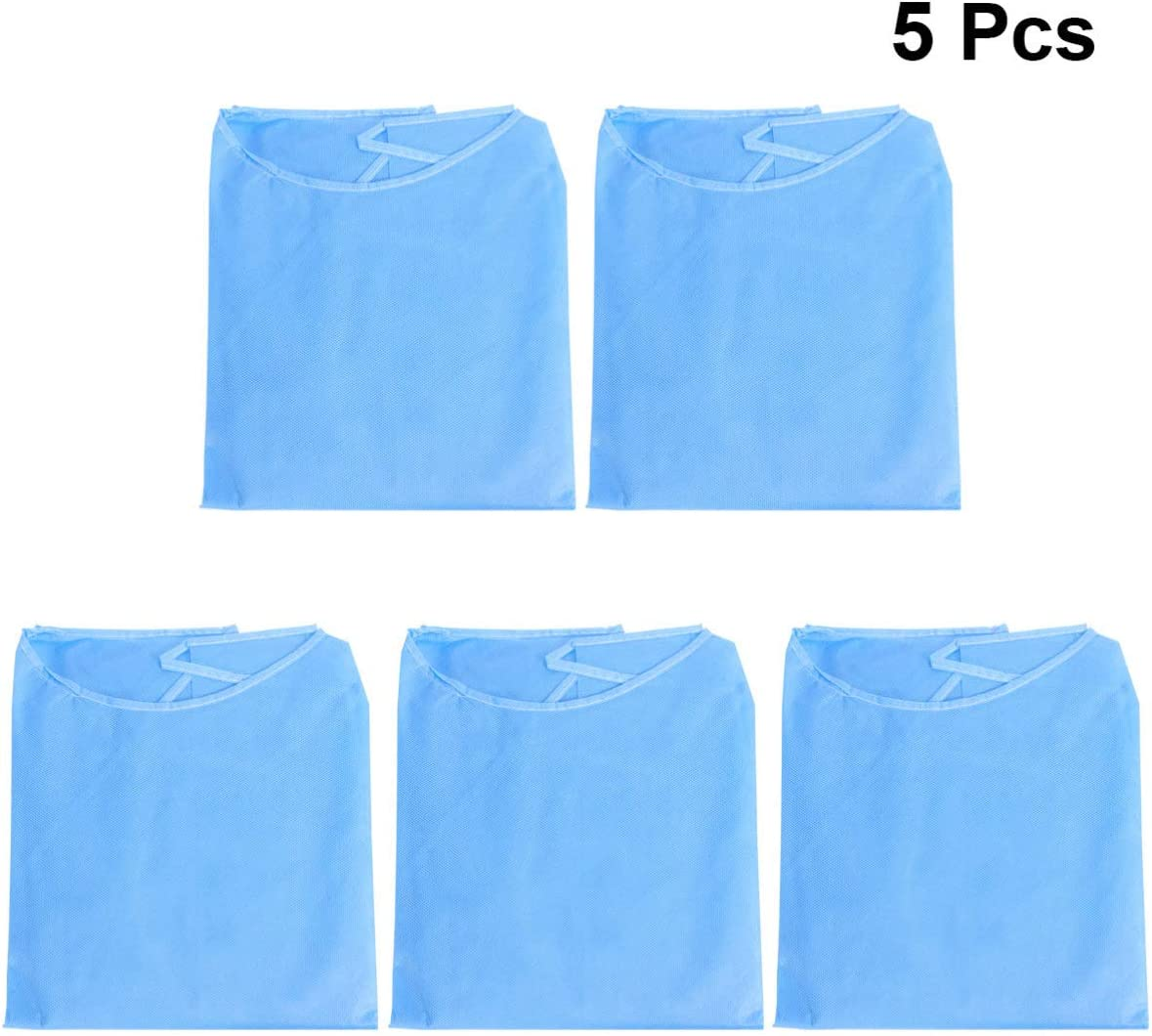 Disposable Overalls Apron Clothing Adjustable Dust-proof Protection Clothes with Elastic Wrists 5pcs