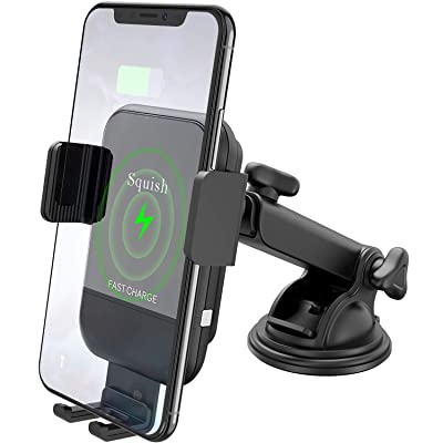 Squish Wireless Car Charger Mount, 10W Qi Wireless Charger Car Phone Mount Automatic Car Phone Holder for Dashboard Compatible with iPhone Xs Max/XS/XR/X/8Plus/8 Samsung S10/S9/S9+/S8/S8+/Note 9/Note8