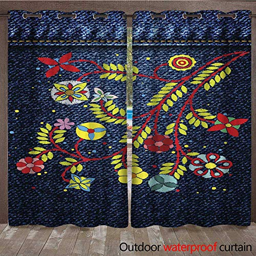 RenteriaDecor Outdoor Ultraviolet Protective Curtains Lace Flower Embroidery on Jeans or Blue Denim Background Design Embroidery Ethnic Floral Jean line or Short Floral Bloom W108 x L84 ()